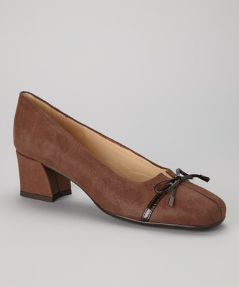 Brown Leather Bow Trina Pump
