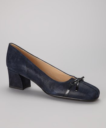 Navy Leather Bow Trina Pump