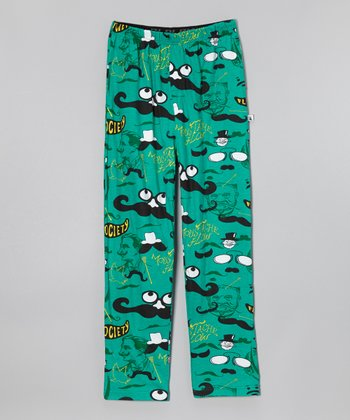 Green Moustache Warm-Up Pants