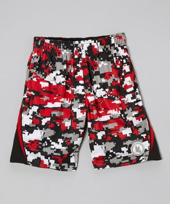 Red & Black Digicamo Shorts - Boys