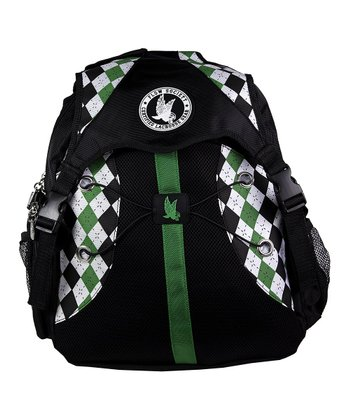 Black & Green Argyle Backpack