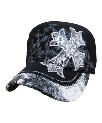 Black Crystal-Studded Cross Cadet Cap