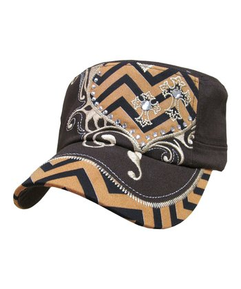 Dark Brown Crystal-Studded Zigzag Cadet Cap