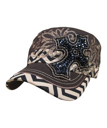 Dark Brown Zigzag Beaded Cross Cadet Cap