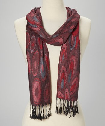 Red & Coral Circle Wool-Silk Blend Scarf