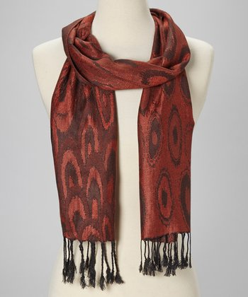 Red & Brick Circle Wool-Silk Blend Scarf