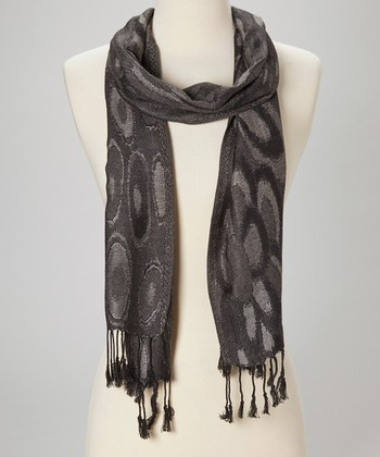 Beige & Black Circle Wool-Silk Blend Scarf