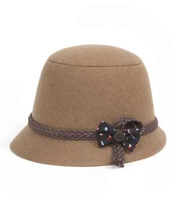 Camel Bow Wool-Blend Bucket Hat