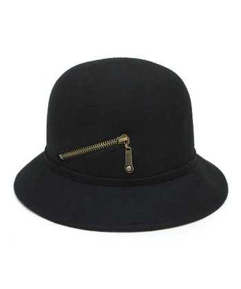 Black Zipper Wool Hat