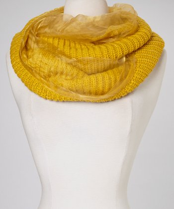 Yellow Silk-Lined Infinity Scarf