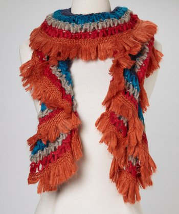 Orange & Blue Fringe Scarf