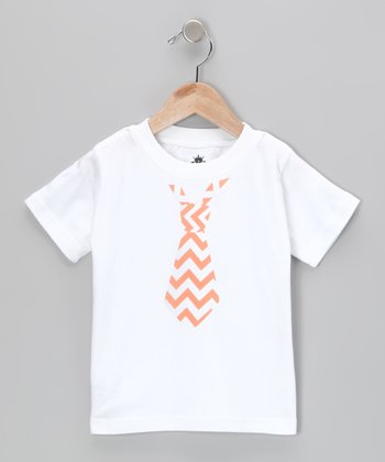 White & Orange Zigzag Tie Tee - Infant, Toddler & Kids