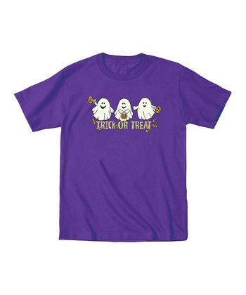 Purple Glow-in-the-Dark 'Trick or Treat' Tee - Toddler & Kids