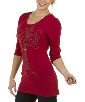 Red Cuuskie Scoop Neck Top