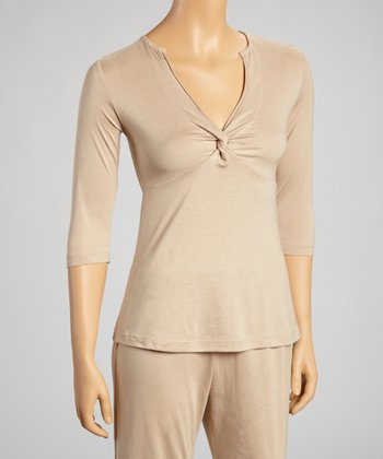 Khaki Three-Quarter Sleeve Twist Top - Women