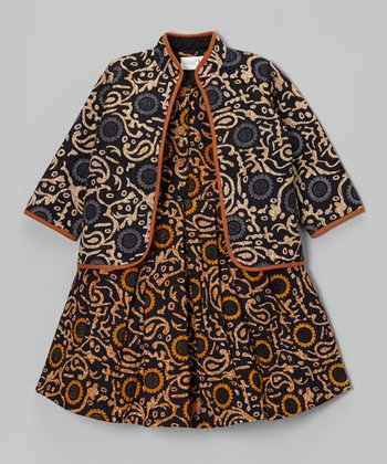 Yellow & Navy Paisley Dress & Jacket - Girls