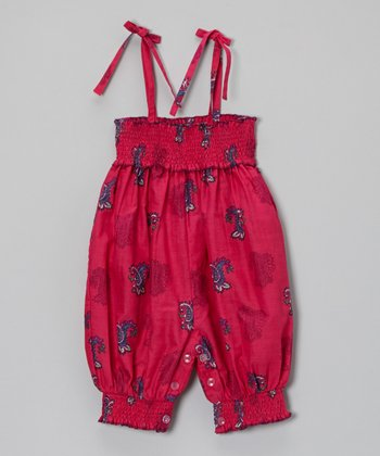 Pink & Blue Paisley Romper - Infant