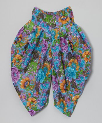 Blue & Purple Floral Harem Pants - Toddler & Girls