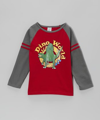 Red 'Dino World' Raglan Tee - Boys