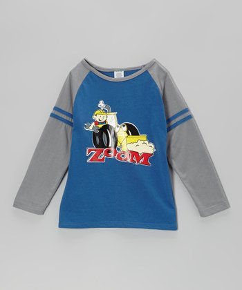 Blue 'Zoom' Raglan Tee - Boys