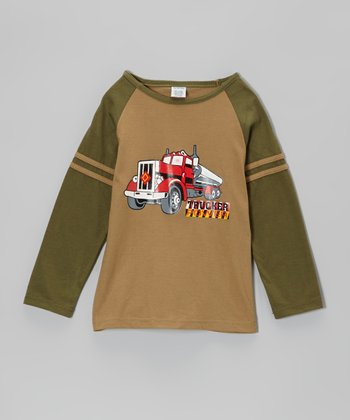 Brown Semi Truck Raglan Tee - Boys