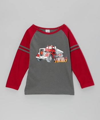 Red Semi Truck Raglan Tee - Boys