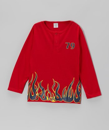 Red '79' Flames Long-Sleeve Tee - Boys