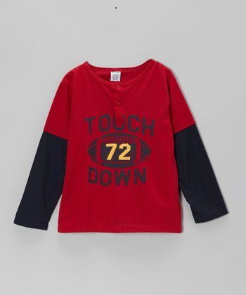 Red 'Touchdown' Layered Tee - Boys