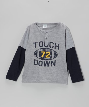 Gray 'Touchdown' Layered Tee - Boys