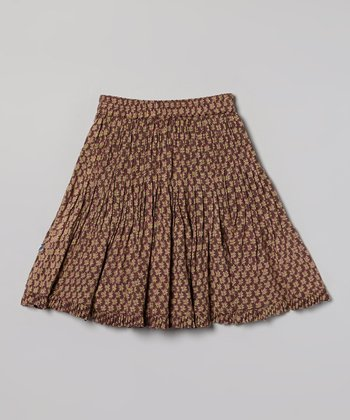 Dhania Brown Pleated Skirt - Toddler & Girls
