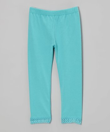 Dark Aqua Lace Leggings - Toddler & Girls