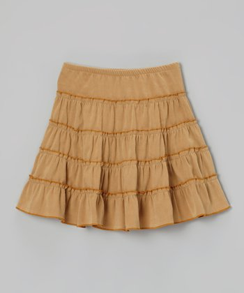 Sand Faux-Suede Tier Skirt - Infant, Toddler & Girls
