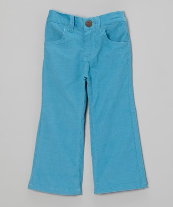 Aqua Corduroy Flare Pants - Girls