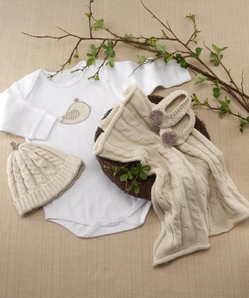 White Feathering the Nest Bodysuit Set