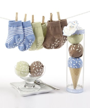 Blue Three Scoop Socks Set