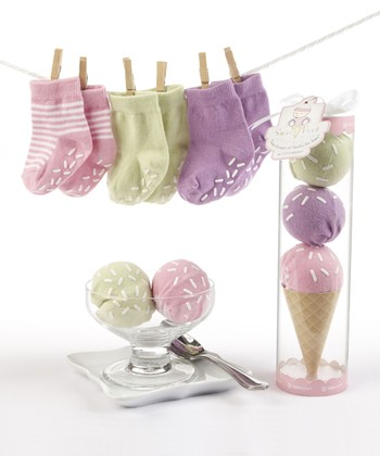 Pink Three Scoop Socks Set
