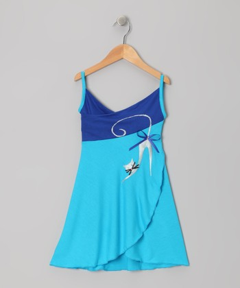 Baby Blue & Blue Cat Wrap Dress - Toddler & Girls
