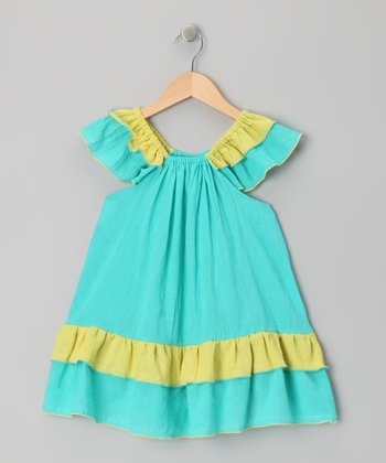 Blue & Yellow Tiered Ruffle Dress - Infant, Toddler & Girls
