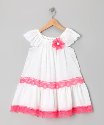 White & Fuchsia Lace Dress - Toddler & Girls