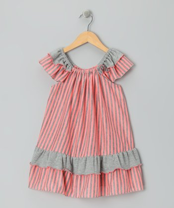 Red & Gray Stripe Dress - Girls