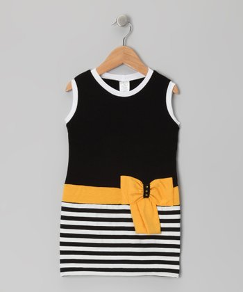Black & Yellow Stripe Bow Dress - Toddler & Girls