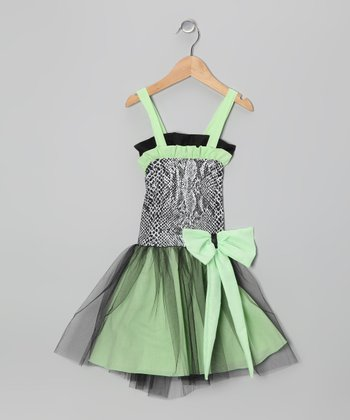 Green & Black Tulle Dress - Toddler & Girls