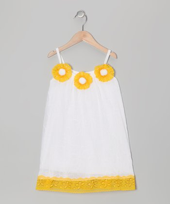White & Yellow Daisy Dress - Toddler & Girls