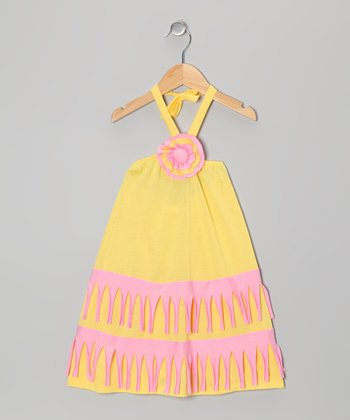 Yellow & Pink Halter Dress - Toddler & Girls