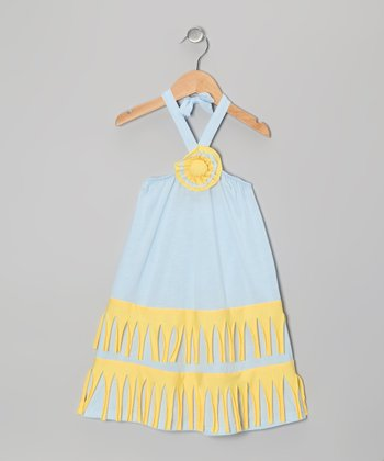 Gray & Yellow Halter Dress - Toddler & Girls