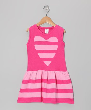 Fuchsia & Pink Stripe Heart Dress - Toddler