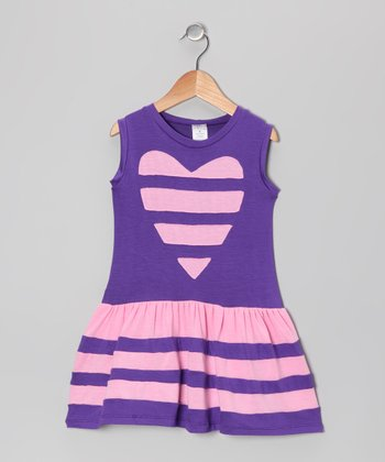 Blue & Pink Stripe Heart Dress - Toddler