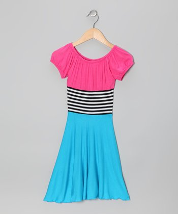 Pink & Blue Stripe Color Block Dress - Toddler