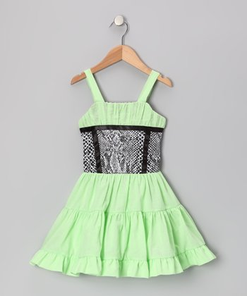 Green & Black Ruffle Dress - Toddler