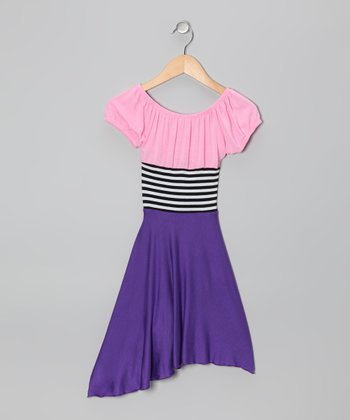 Blue & Pink Stripe Color Block Dress - Toddler